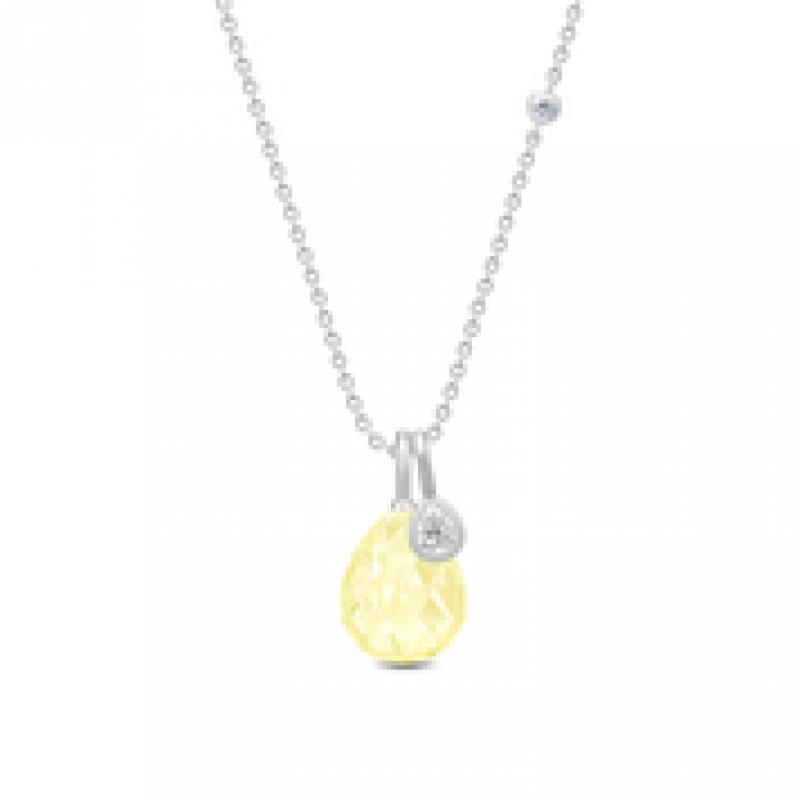 BALLERINA halskæde lemon krystal sølv