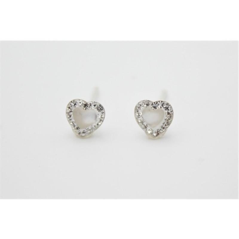 Hjerte ørestikker, sølv m. zirk.
