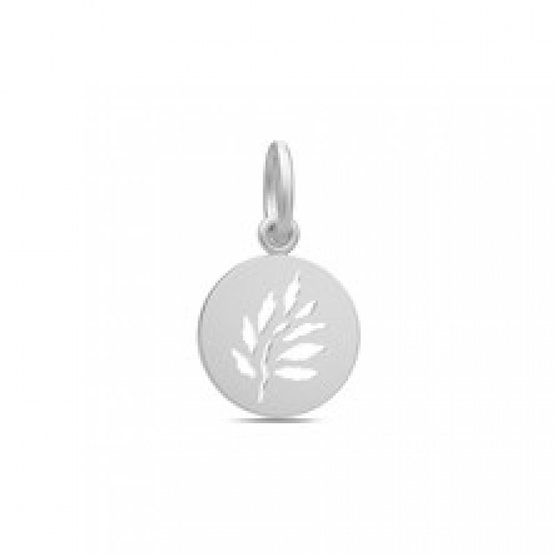 SIGNATURE Vedhæng med udskåret blad sølvrhodineret
