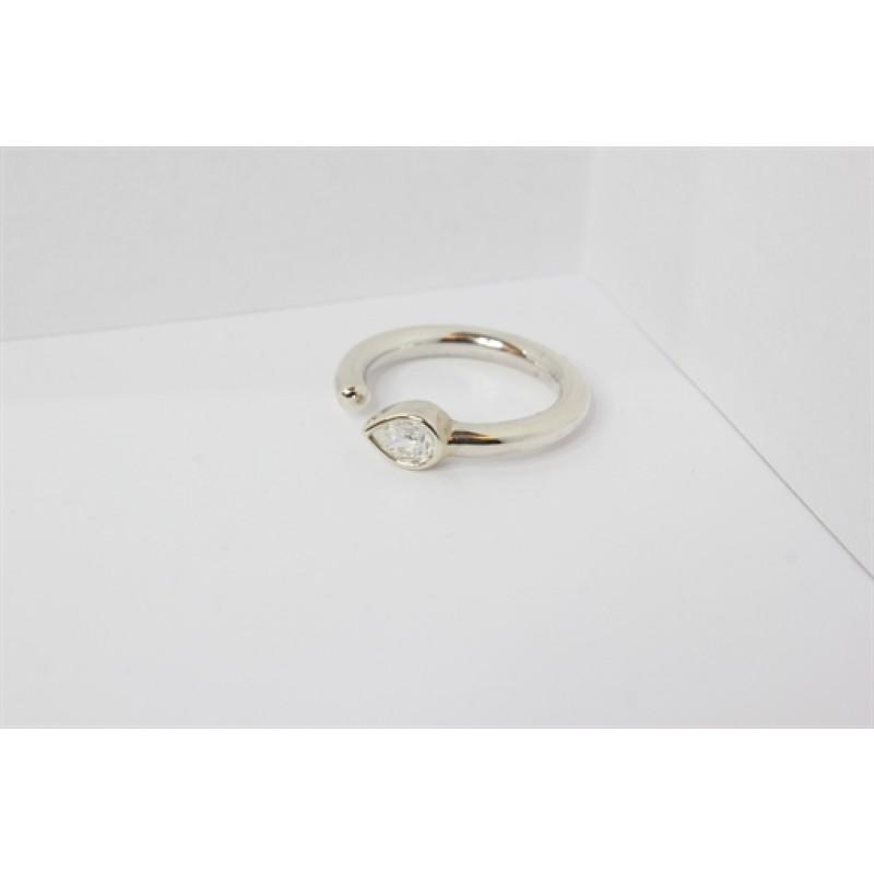 Sølv ring, zirkonia, åbent