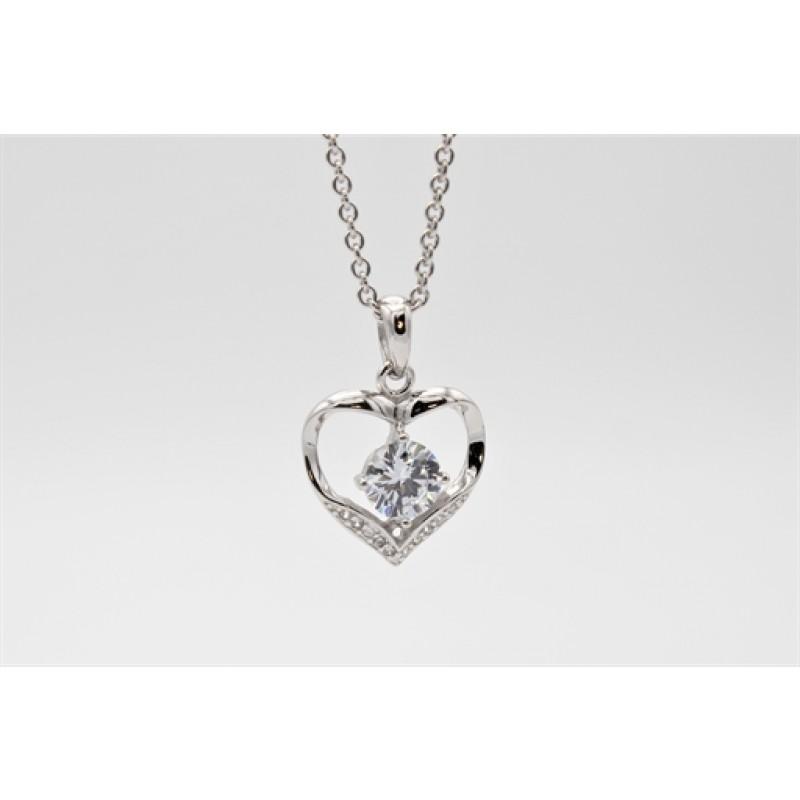 Valentine halskæde, sølv m. en stor zirk.