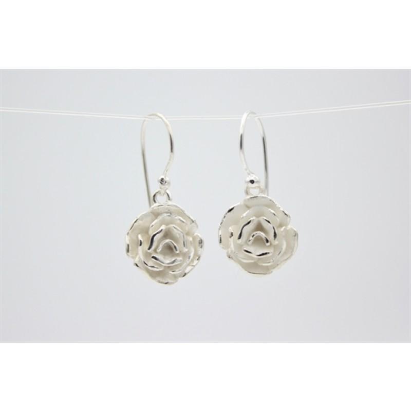 Blomster ørehængere i sølv