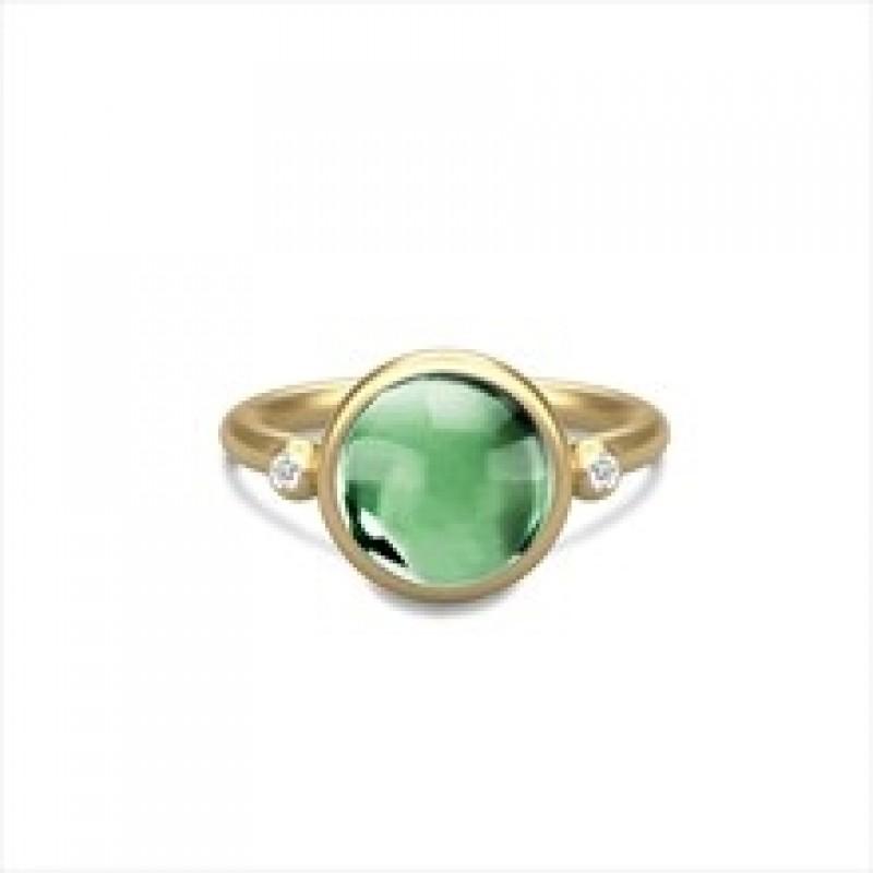 PRIME ring med grøn krystal