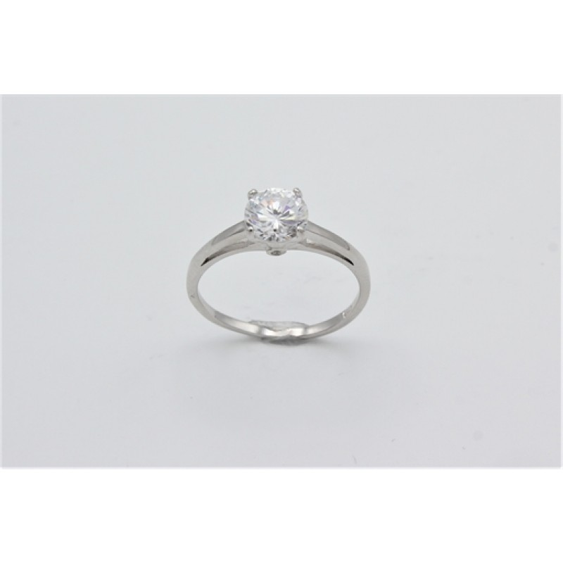 Sølv ring med en stor zirkonia