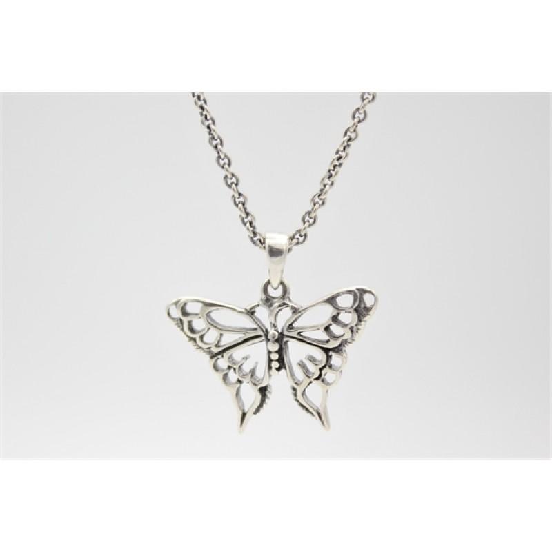 Sommerfugle halskæde i sølv m. oxyderinger