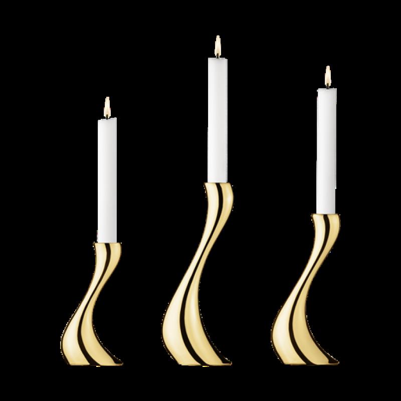 Cobra lysestage sæt med 3, forgyldt