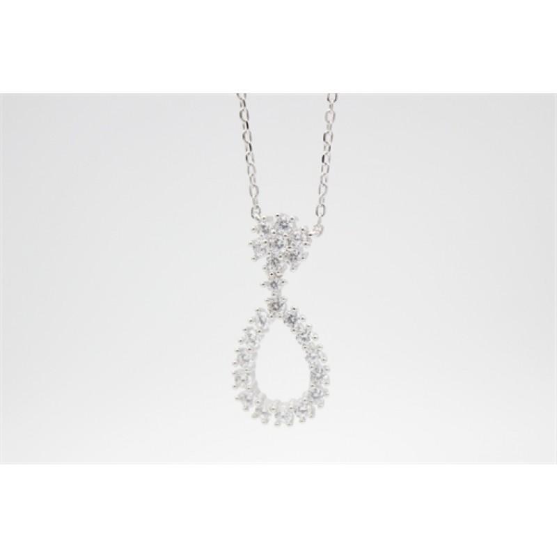 Elegant sølv halskæde med zirkoner