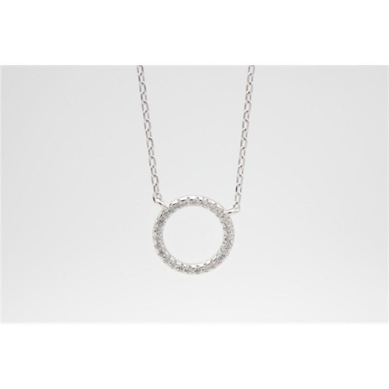 Zirkonia cirkel halskæde, sølv, 10 mm