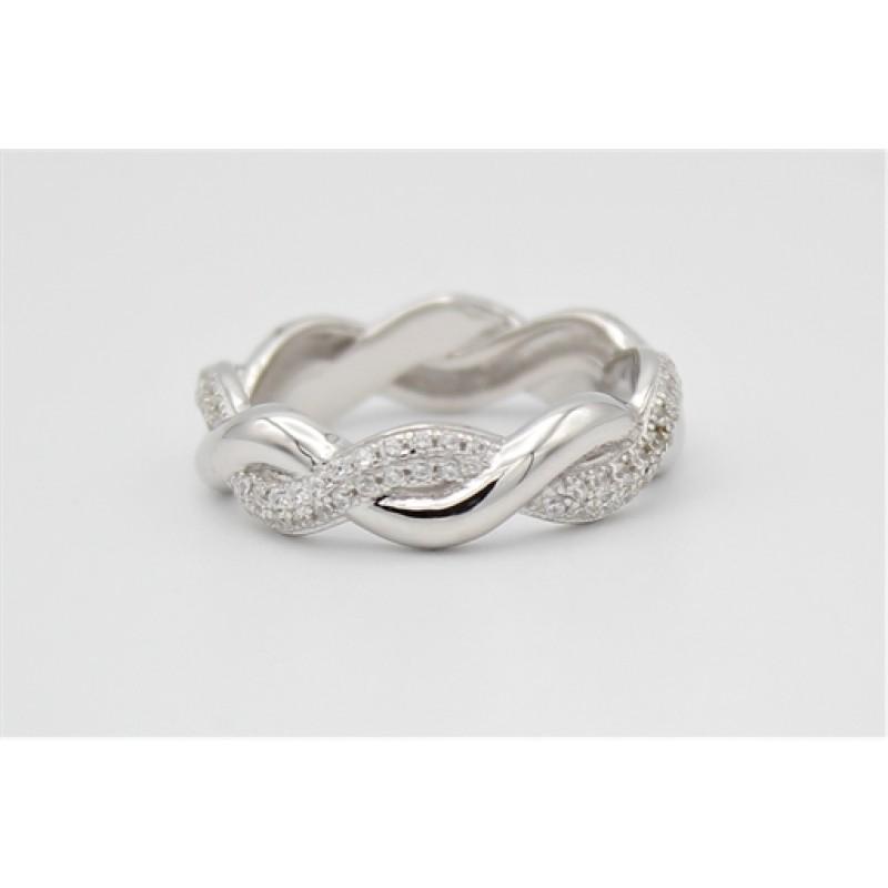 Waves sølv ring med zirkonia