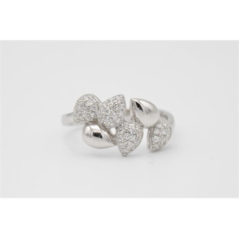 Dråber, sølv ring med zirkoner