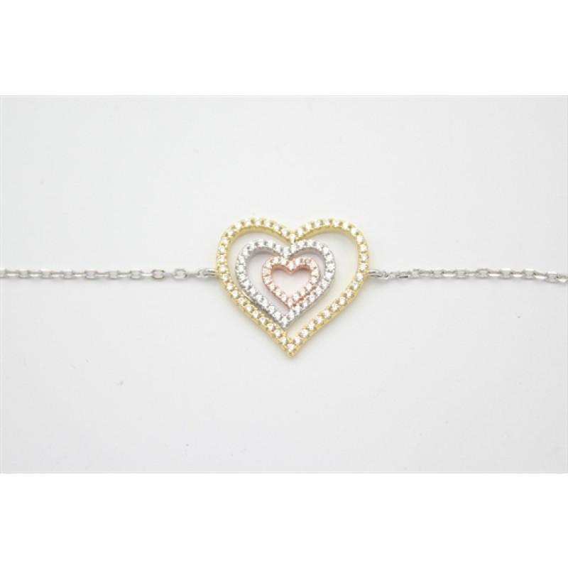 Hjerter og zirkoner armlænke, forgyldt, rosa og sølv