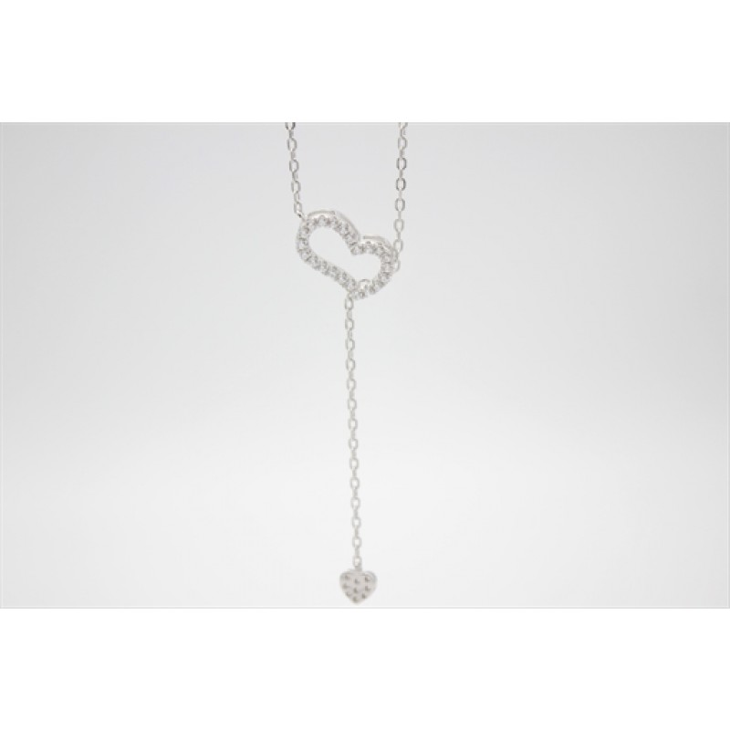 Hjerte Y halskæde i sølv
