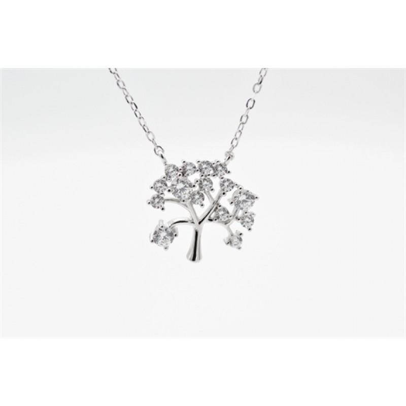 Livets træ halskæde, sølv m. zirk.