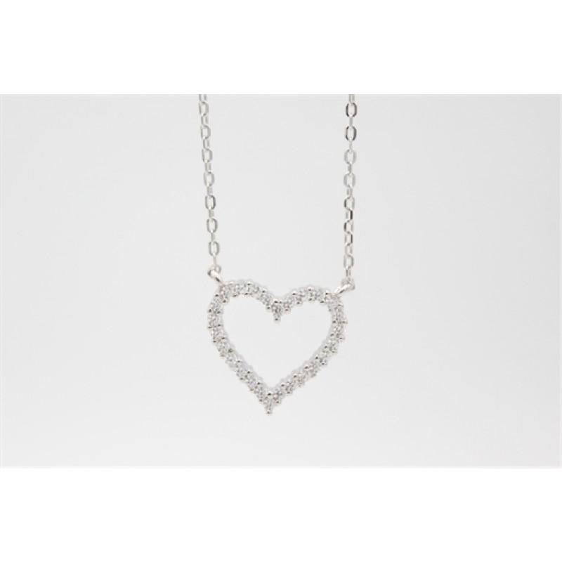 Zirkonia hjerte halskæde, sølv