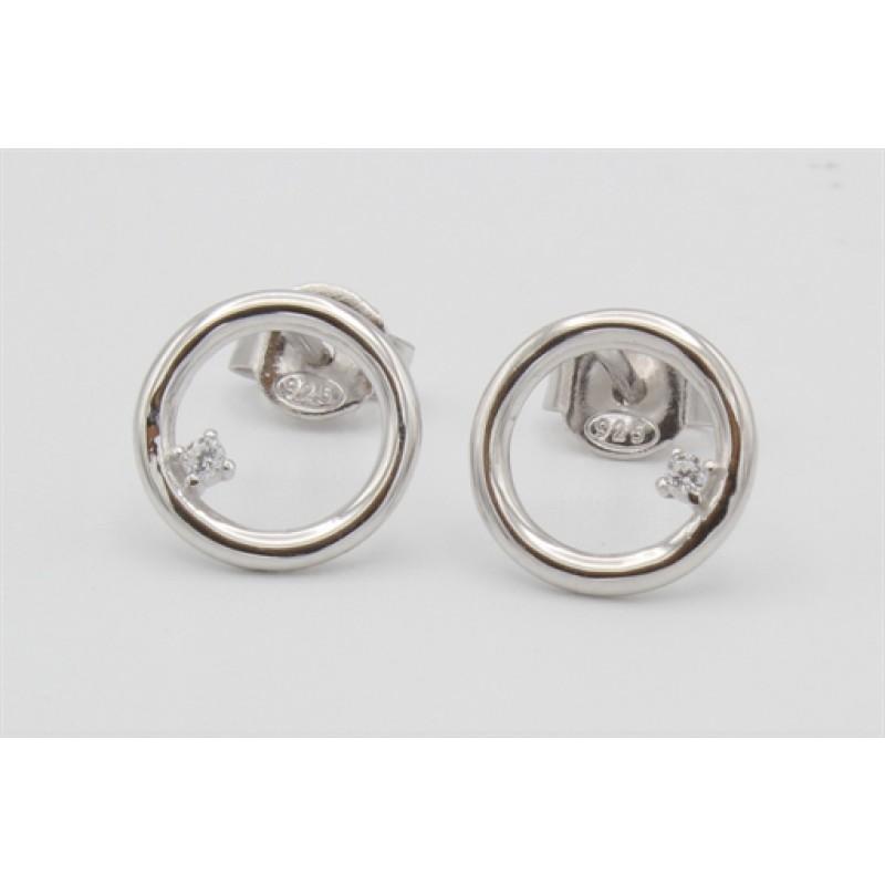 Sølv ørestikker m. cirkel og zirkonia