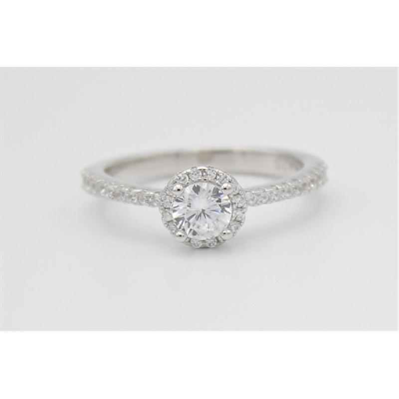 Elegant sølv ring med synt. zirk.