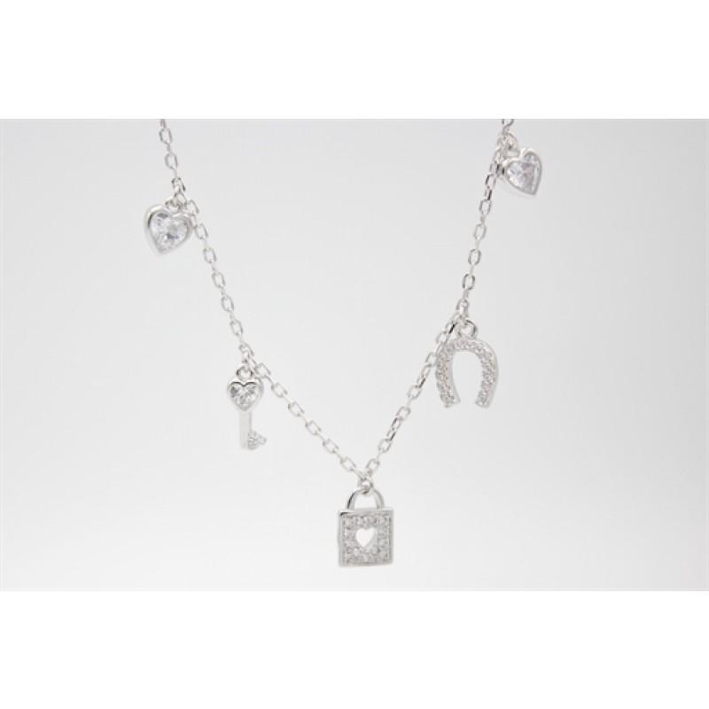 Sølv halskæde med lås og hestesko