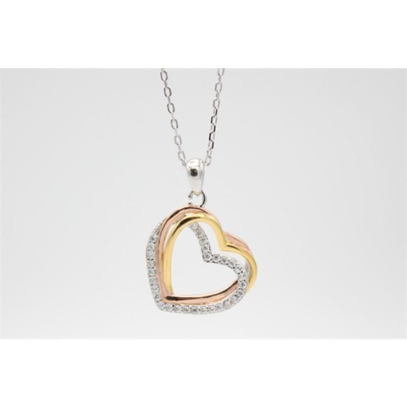 Hjerte halskæde, rosa, forgyldt og sølv