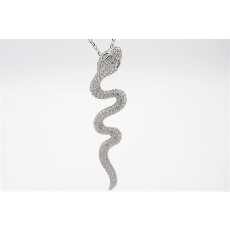 Slange halskæde, sølv m. sten