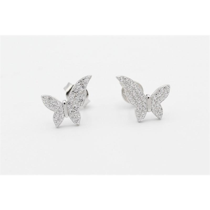 Sommerfugle sølv ørestikker, zirkoner