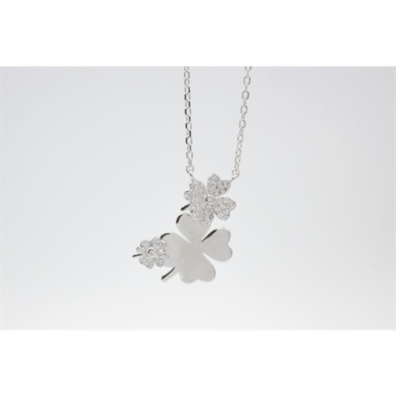 Zirkonia firkløver halskæde, sølv