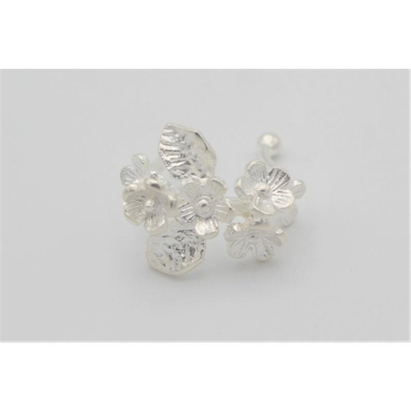 Conch ørering med blomster, sølv