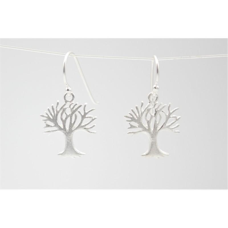 Sølv ørehængere med matteret livets træ