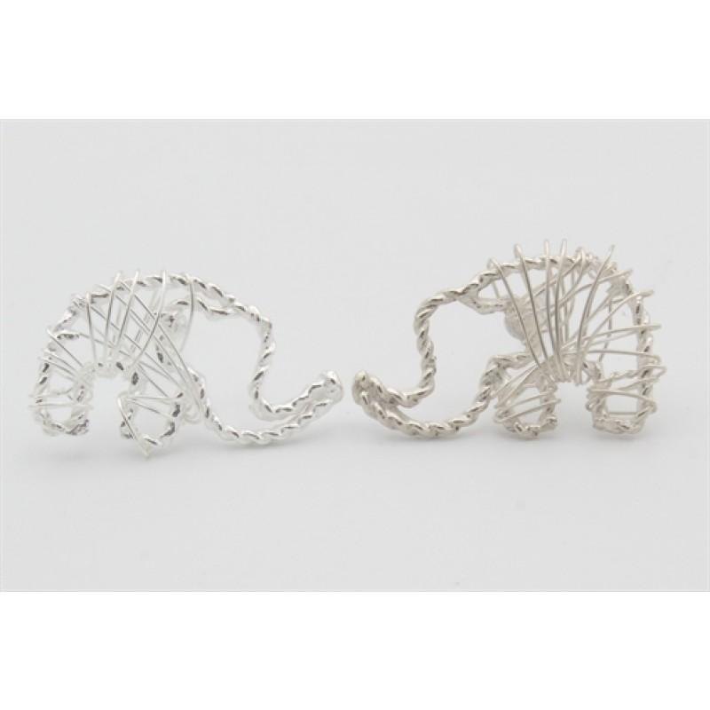 Sølv ørestikker med tråde, elefant