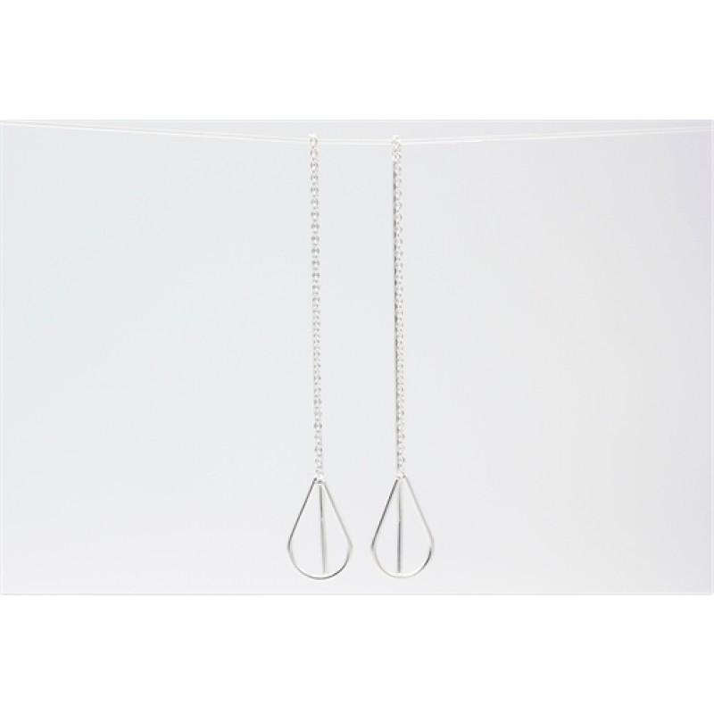 Dråbe ørehængere med kæde, sølv