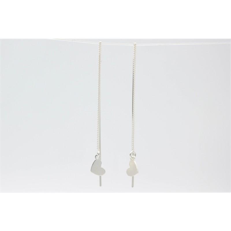 Hjerte ørehængere med kæde, sølv
