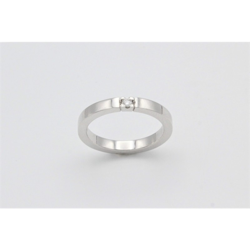 ANNA alliancering hvidguld m/1 x 0,05 ct