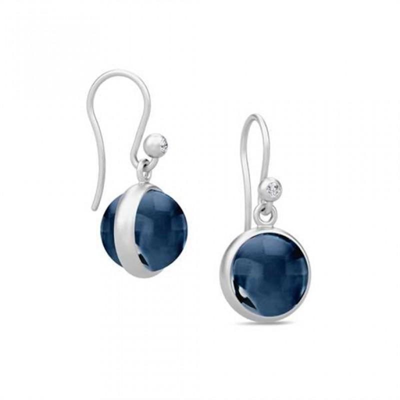 PRIME ørehængere med safirblå krystal, sølv