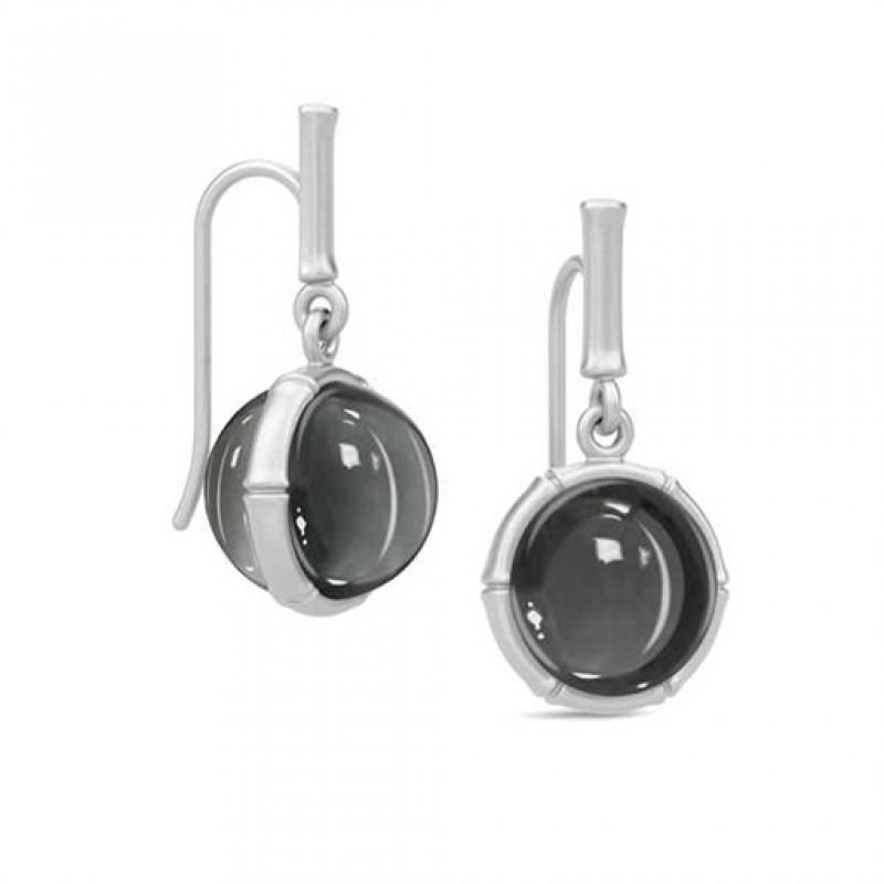 BAMBOO Sølv ørehængere med hæmatitkvarts