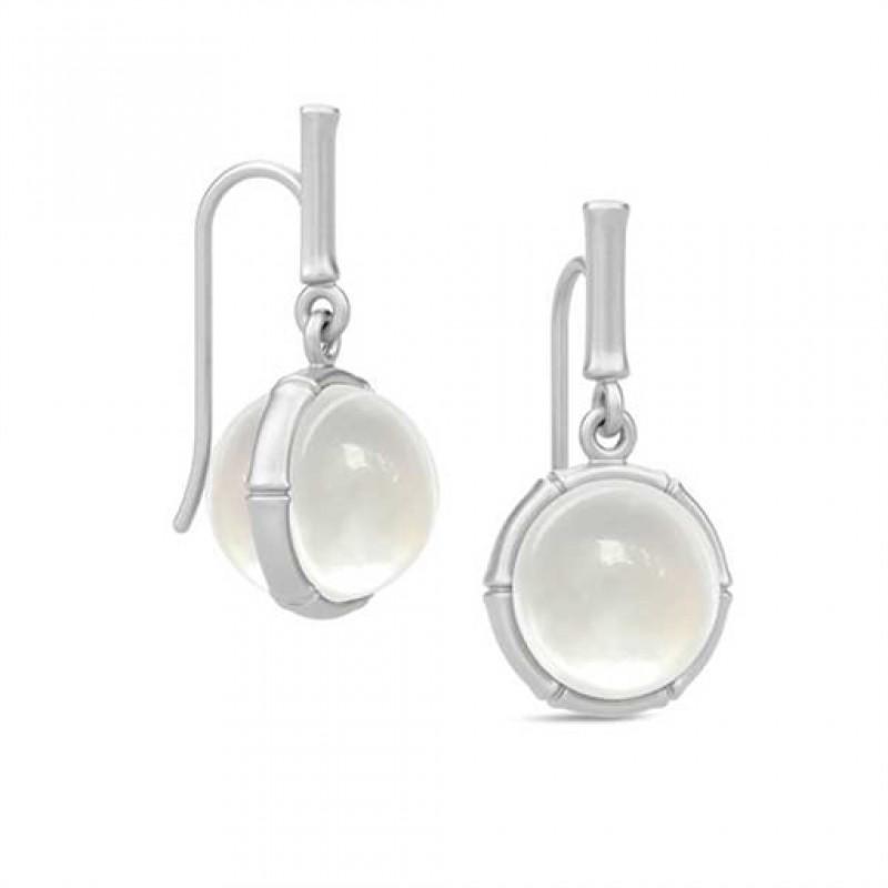 BAMBOO Sølv ørehængere med perlemorskvarts