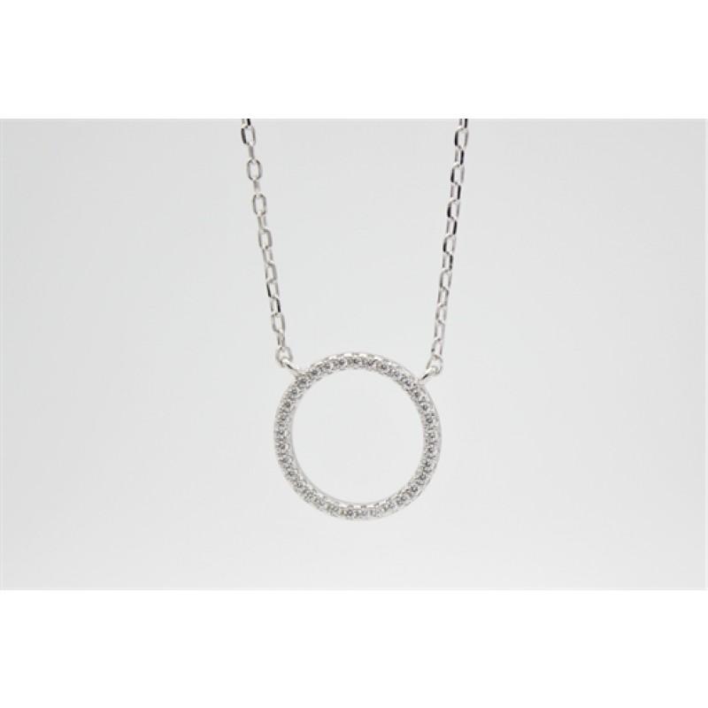 Zirkonia cirkel halskæde, sølv, 14 mm