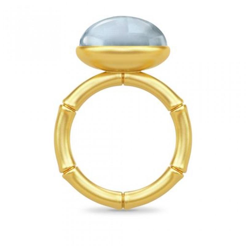 BAMBOO Forgyldt Wisdom Ring Aqua Blue-01