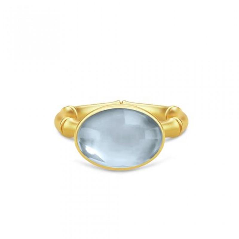 BAMBOO Forgyldt Wisdom Ring Aqua Blue