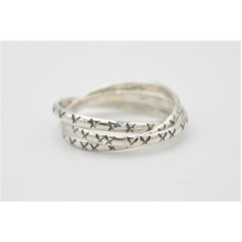 3 i 1 ring med oxydering, ring i sølv