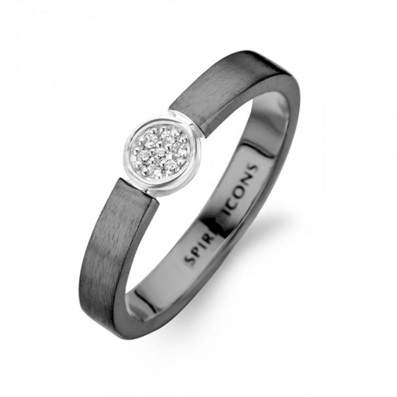 Life ring, sort rhodineret