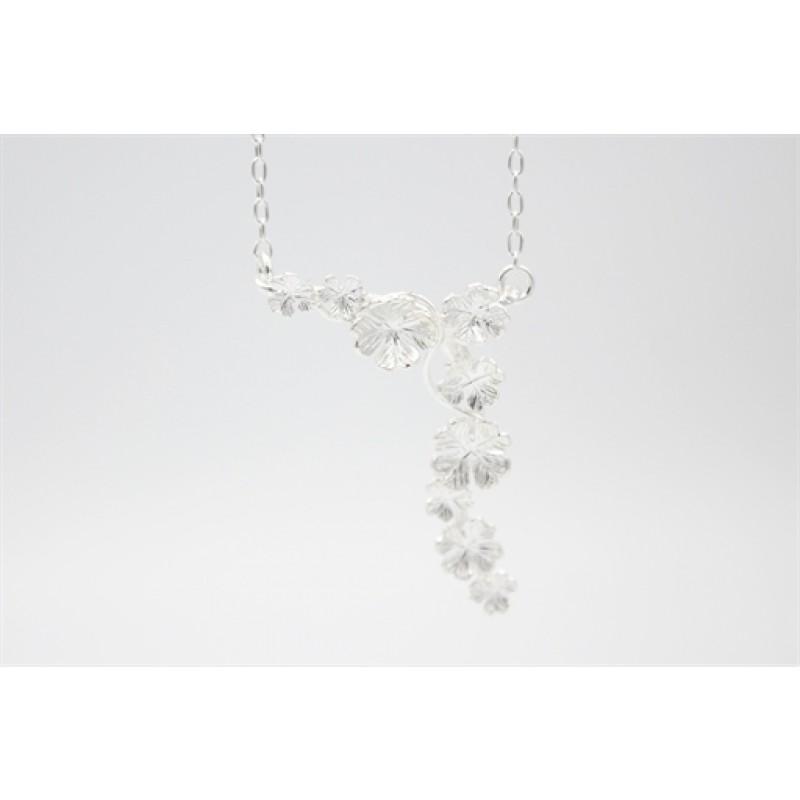 Flower halskæde i sølv, Y-formet
