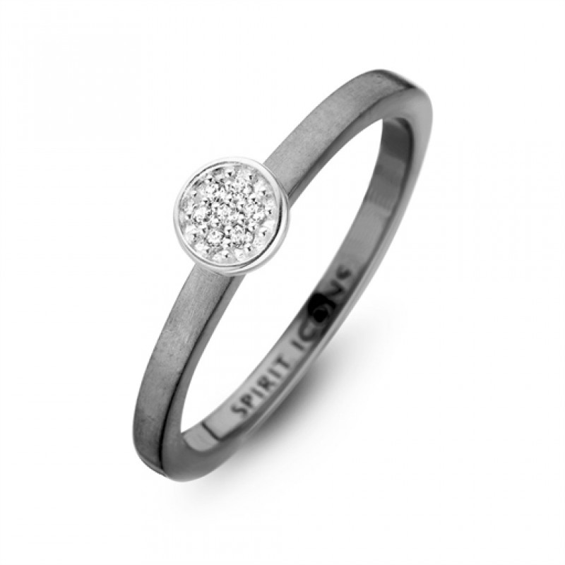 Opus ring, sort rhodineret