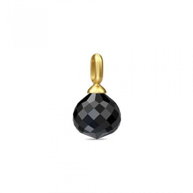 JOY forgyldt vedhæng stor sort krystal