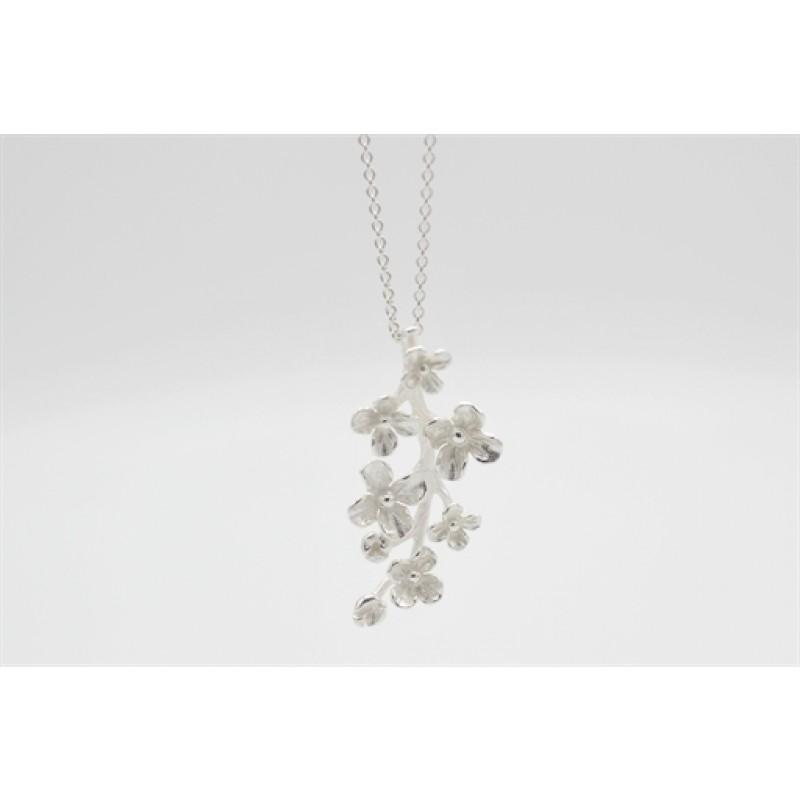 Blomster gren halskæde, sølv