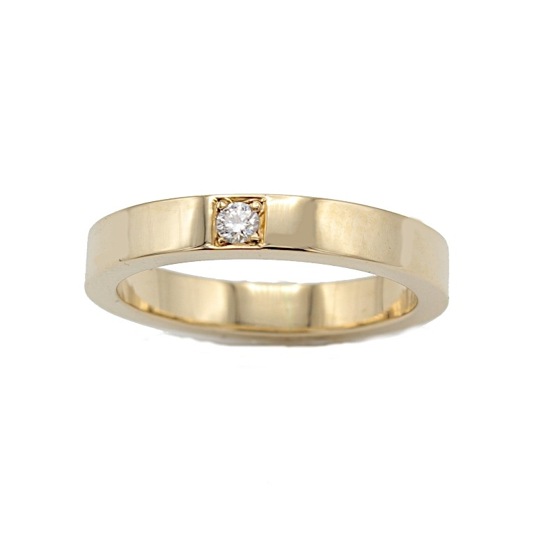 LAURINE alliancering rødguld m/1 x 0,05 ct