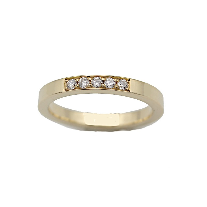 LAURINE alliancering rødguld m/5 x 0,03 ct