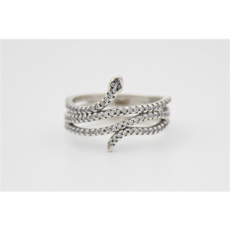 Slange ring med zirkoner, sølv