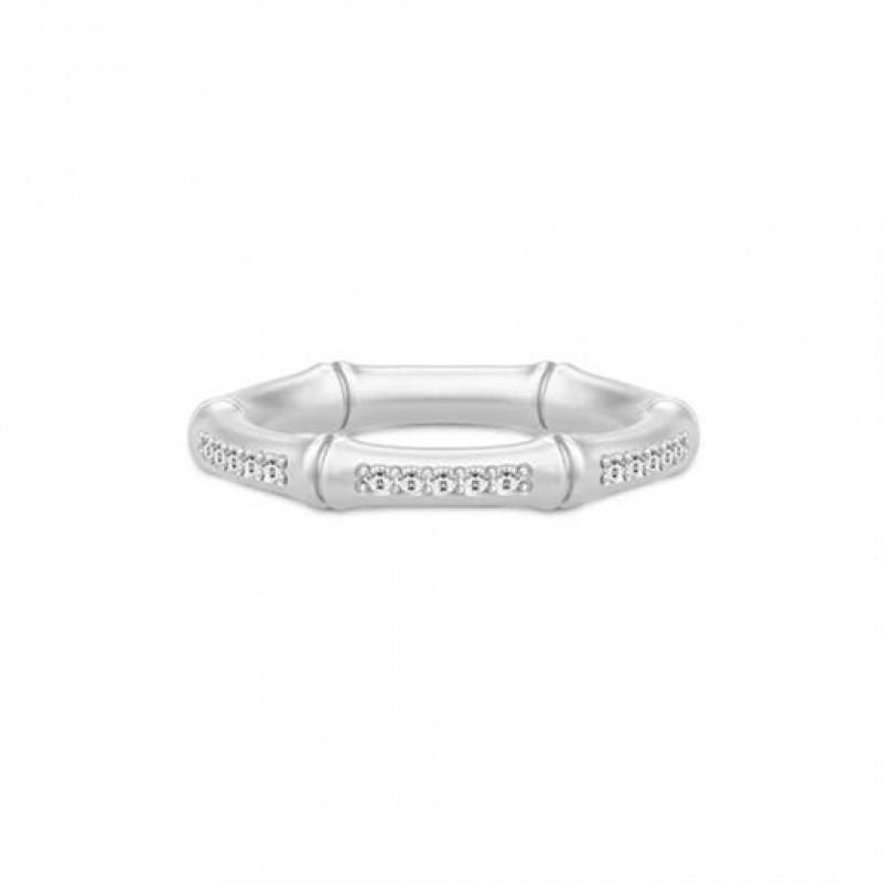 BAMBOO Sølv ring, zirkoner