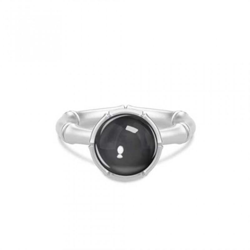 BAMBOO Sølv ring med hæmatitkvarts