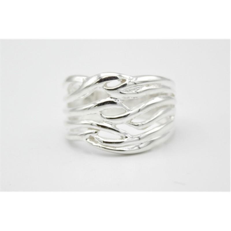 Waves sølv ring, bred