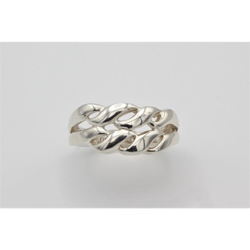 Snoet sølv ring bred